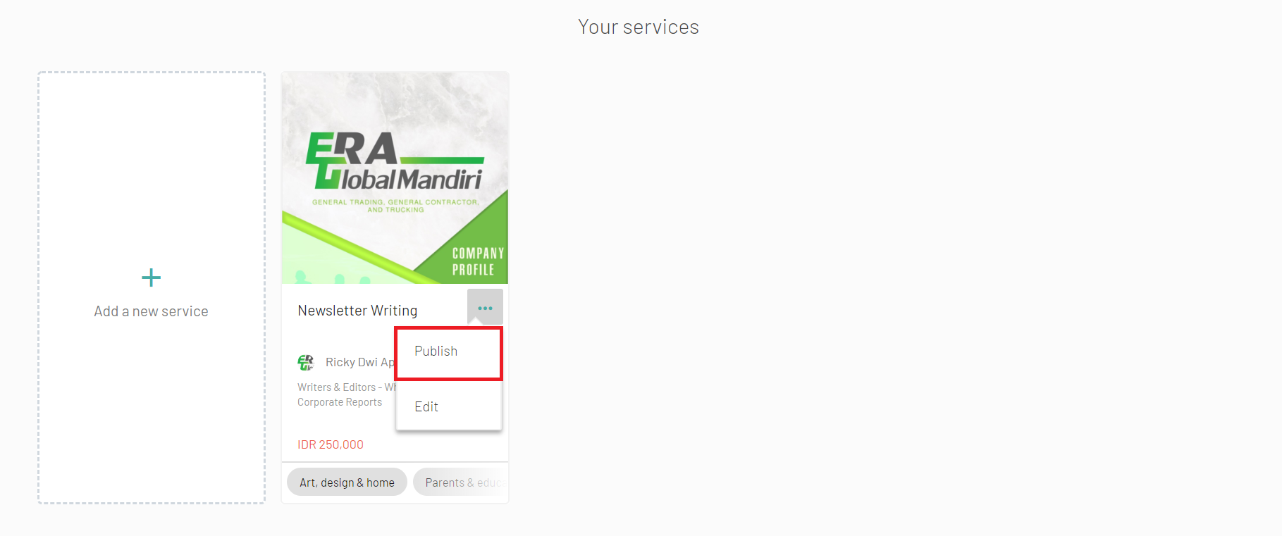 service publish