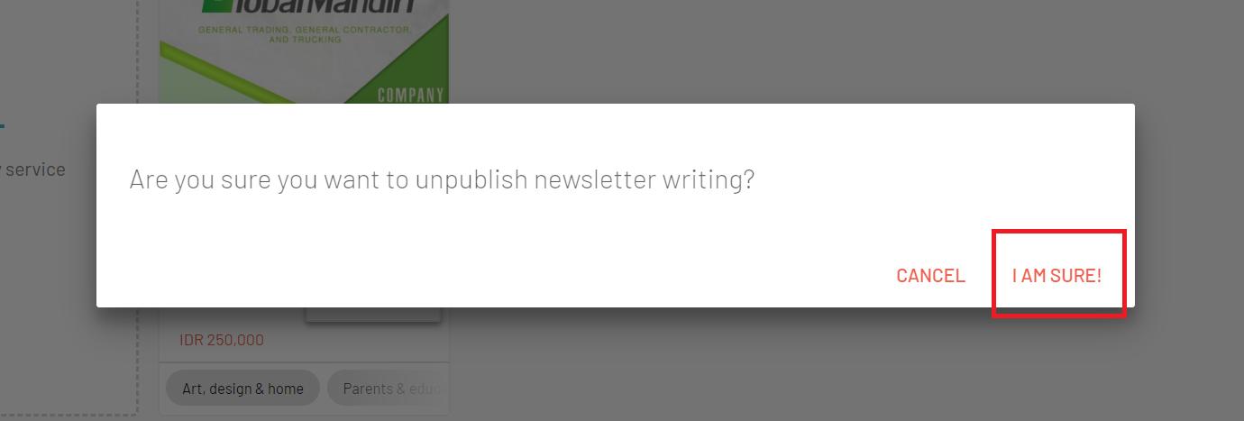 want to sure unpublish